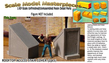Roof Top Access Stairway Shed (2pcs) Scale Model Masterpieces HO/HOn3/HOn30 *NEW*