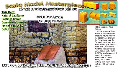 BASEMENT ACCESS-EXTERIOR CONCRETE & STEEL-(2pcs) Scale Model Masterpieces HOn3/HOn30