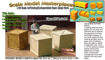 WOOD BOXES/CRATES-Med(4pcs) Scale Model Masterpieces Sn3/Sn2/1:64 *NEW*
