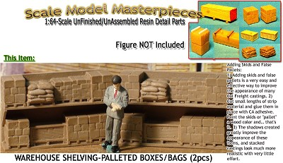 WAREHOUSE SHELVING-PALLETED BOXES/BAGS-OPEN (2pcs) S/Sn3/Sn2/1:64 SMM *NEW*
