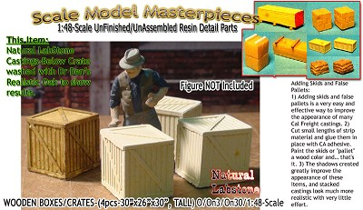 Wood Crates/Boxes-Med (4pcs) Scale Model Masterpieces O/On3/On30/1:48