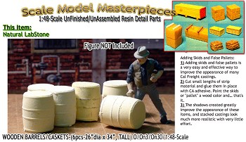 Wooden Barrels/Caskes-(6pcs) Scale Model Masterpieces O/On3/On30/1:48 *NEW*