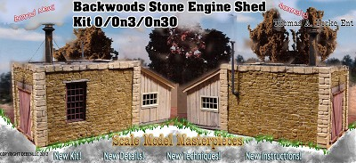 BACKWOODS STONE ENGINE SHED Kit Thomas Yorke/SMM On3/On30 *New Release*