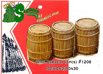 Wine Barrels/Kegs (3pcs) - HO/HOn3/HOn30 Sequoia Models
