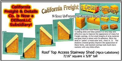 Roof Top Access Stairway Shed (3pcs) N/Nn3/1:160-Scale California Freight & Details Co.