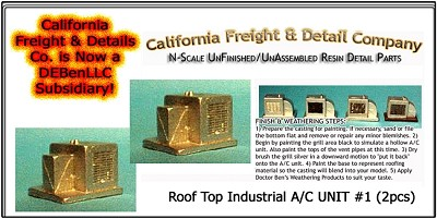 Roof Top Industrial A/C UNIT #1 (2pcs)  N/Nn3/1:160-Scale California Freight & Details Co
