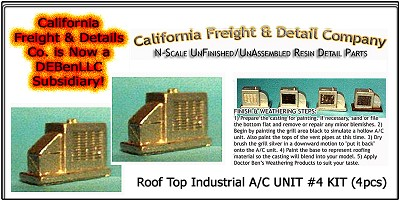 Roof Top Industrial A/C UNIT #4 KIT (2pcs) N/Nn3/1:160-Scale California Freight & Details Co
