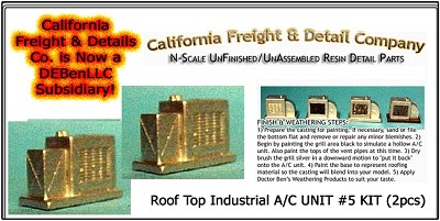 Roof Top Industrial A/C UNIT #5 KIT (2pcs) N/Nn3/1:160-Scale California Freight & Details Co