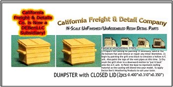 Dumpster with Closed Lid (2pcs) N/Nn3/1:160-Scale California Freight & Details Co