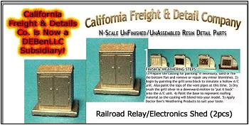 Railroad Relay/Electronics Shed (2pcs) California Freight & Details Co. N/Nn3/1;160