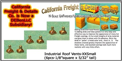 Industrial Roof Vents-XXSmall (6pcs) N/Nn3/1:160-Scale California Freight & Details Co