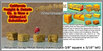 Recycled Scrap Metal Bales/Stacks (5pcs) N/Nn3/1:160-Scale California Freight & Details Co