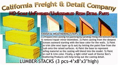 Milled Lumber Stacks (3pcs) Scale Model Masterpieces HO/HOn3/HOn30