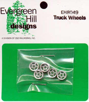 Truck Wheels/Rims (5pcs-metal) O/On3/On30-Scale Evergreen Hill Designs *NEW*