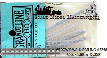 "WIDOW'S WALK RAILINGS (4pcs-2""lg x 3/8"") FSM/ Grandt Line HOn3/HOn30"