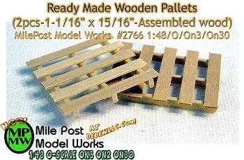 "Ready Made Wooden Pallets (2pcs-1-1/16"" x 15/16""-wood) - O/On3/On30 1:48-Scale MilePost Model"