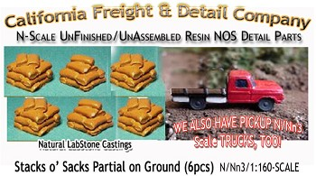 Stacks 'O Sacks-PARTIAL ON Ground (6pcs) Scale Model Masterpieces N/Nn3-1:160