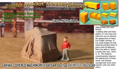 Canvas Covered Machinery/Flatcar Load (1pc) Scale Model Masterpieces-N/Nn3