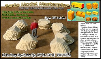 Old Tree Stumps-Sloped Surface (7pcs) Scale Model Masterpieces Multi Scale