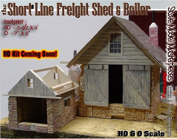 the Short Line Freight Shed & Boiler Kit Scale Model Masterpieces/Thomas Yorke HOn3/HOn30/1;87
