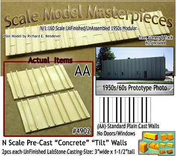 Tilt-Up Spline Style Walls (AA)-Spline Style Walls-No Door/Windows (2pcs) SMM N/1;160