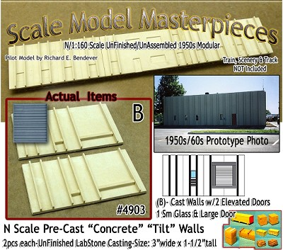 Tilt-Up Spline Style Walls (B)-2 Elevated Doors/1Sm Glass/1 Lg Roll Up-Right (2pcs) SMM-N/Nn3