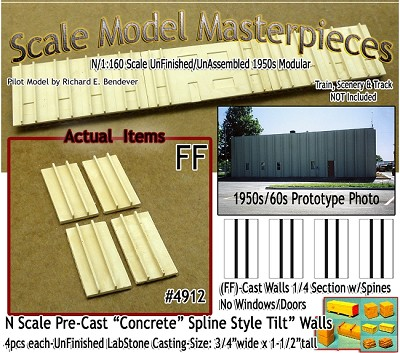 Tilt-Up Spline Style Walls (FF)-1/4 Section w/Spines (4pcs-10'x20') SMM-N/Nn3