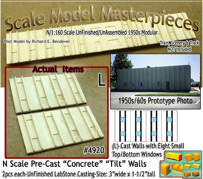 Tilt-Up Spline Style Walls (L)-Eight Small Top/Bottom Windows-(2pcs) Scale Model Masterpieces-N