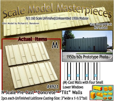 Tilt-Up Spline Style Walls (M)-Four Small Lower Windows-(2pcs) Scale Model Masterpieces-N/Nn3