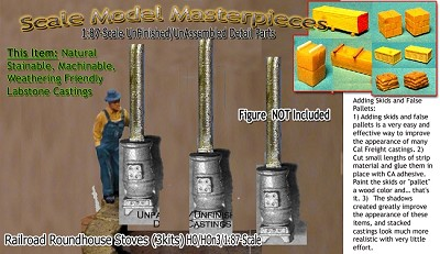 Railroad Roundhouse Stove Kits (3kits)  Scale Model Masterpieces HOn3/HOn30