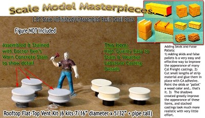 Rooftop Flat-Top Power Vent Kit (6 kits) Scale Model Masterpieces HO/HOn3/HOn30
