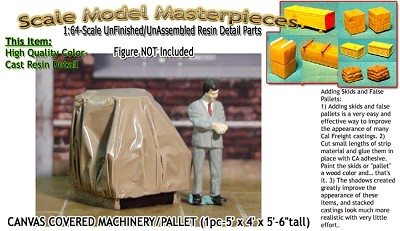 CANVAS COVERED MACHINERY Palleted (1pc) Scale Model Masterpieces Sn3/Sn2/1:64