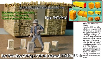 Roof Vents (5pcsLabstone)  Scale Model Masterpieces/Yorke On30.1;48