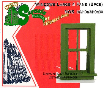Windows-Large 4 Pane (2pcs)-HO/HOn3/HOn2 Sequoia Models