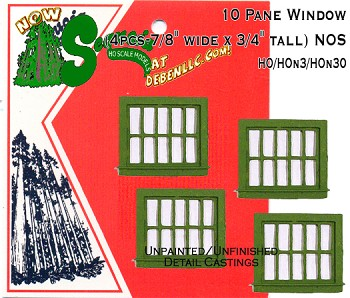 "10 Pane Window, (Unpainted 4pcs-7/8"" wide x 3/4"" tall) HOn3/HOn30 Sequoia Models"