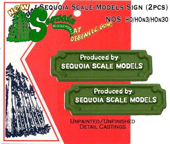 Sequoia Scale Models Sign (2pcs) HO/HOn3HOn30/HOn2 Sequoia Models