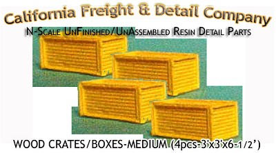 WOOD CRATES/BOXES-Large (4pcs) N/Nn3/1:160-Scale CAL FREIGHT