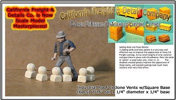 Industrial Roof Cyclone Vents w/Square Base (6pcs) California Freight & Details Co. O/On30/1;48