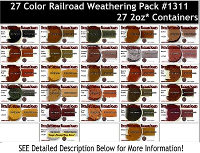 27-Color Railroad/Locomotive/Structure Weathering Pigment Set & Booklet #3-Doctor Ben's Scale Consortium