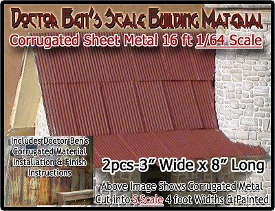 S Corrugated Metal Roofing/Siding (2pcs) Doctor Ben's Scale Consortium 1/64 Sn3/Sn2/Sn42