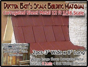Corrugated Metal Roofing/Siding (2pcs) Doctor Ben's Scale Consortium On3/On30/1;48