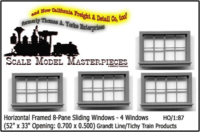 "Horizontal Framed Sliding Windows-4pcs 52"" x 33"" Grandt Line HOn3/HO30"