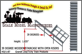 Wood Staircase with Open Risers (39°/1.835 High-UnAssembled)-Grandt Line 1;87/HO/HOn3