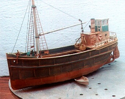 68' STEAM FREIGHTER FULL HULL Built Up Model (no Base)