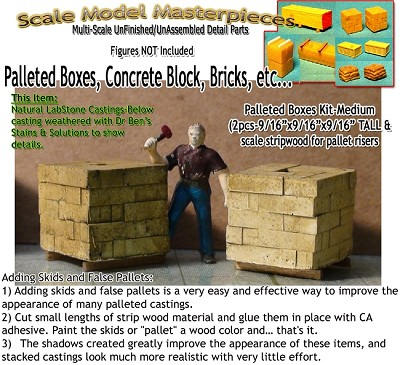 Card Board Boxes, Pallet Stacked-Small (3pcs) Scale Model Masterpieces / Thomas A Yorke Ent. HO/1:87