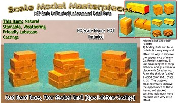 Card Board Boxes, Floor Stacked-Small (3pcs) Scale Model Masterpieces / Thomas A Yorke Ent. HO/1:87