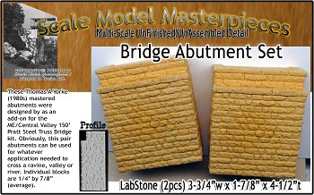 Bridge Abutment Set (for ME Central Valley Pratt Truss Bridge Kit) Scale Model Masterpieces / Thomas A Yorke Ent.