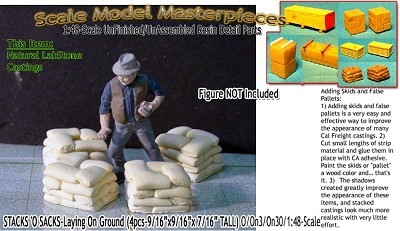 Stacks 'O Sacks-Laying On Ground (4pcs) Scale Model Masterpieces O/On3/On30/1:48 *NEW*