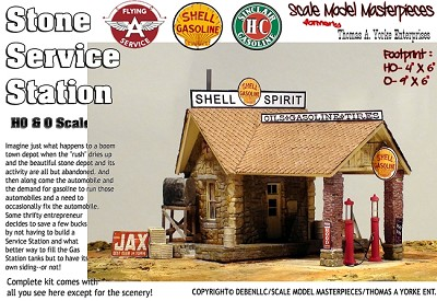 Stone Service Station (Shell, Sinclair or Flying A) Kit Scale Model Masterpieces / Thomas Yorke  HO/1:87