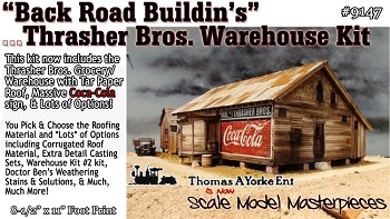 """Back Road Buildin's"" Thrasher Bros. Warehouse Kit Thomas Yorke/Scale Model Masterpieces O Scale"